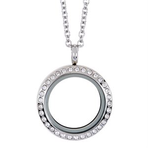 Picture of Medium Silver with Crystals Locket